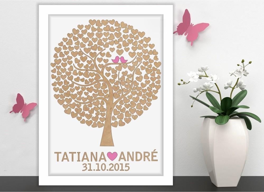 Quadro Árvore de Assinatura Premium com 150 Corações - O Queridinho dos Casamentos