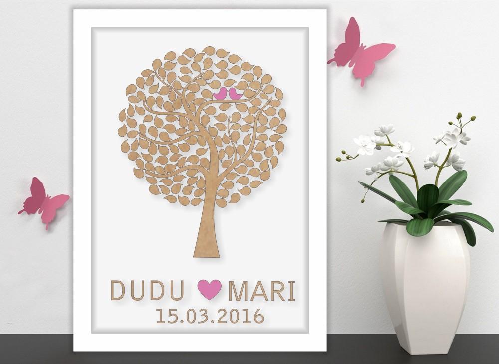 Quadro Árvore de Assinatura Premium com 150 Folhas - O Queridinho dos Casamentos