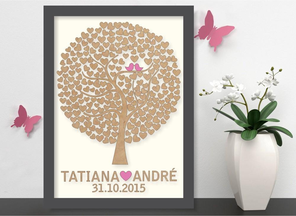 Quadro Árvore de Assinatura Premium com 200 Corações - O Queridinho dos Casamentos
