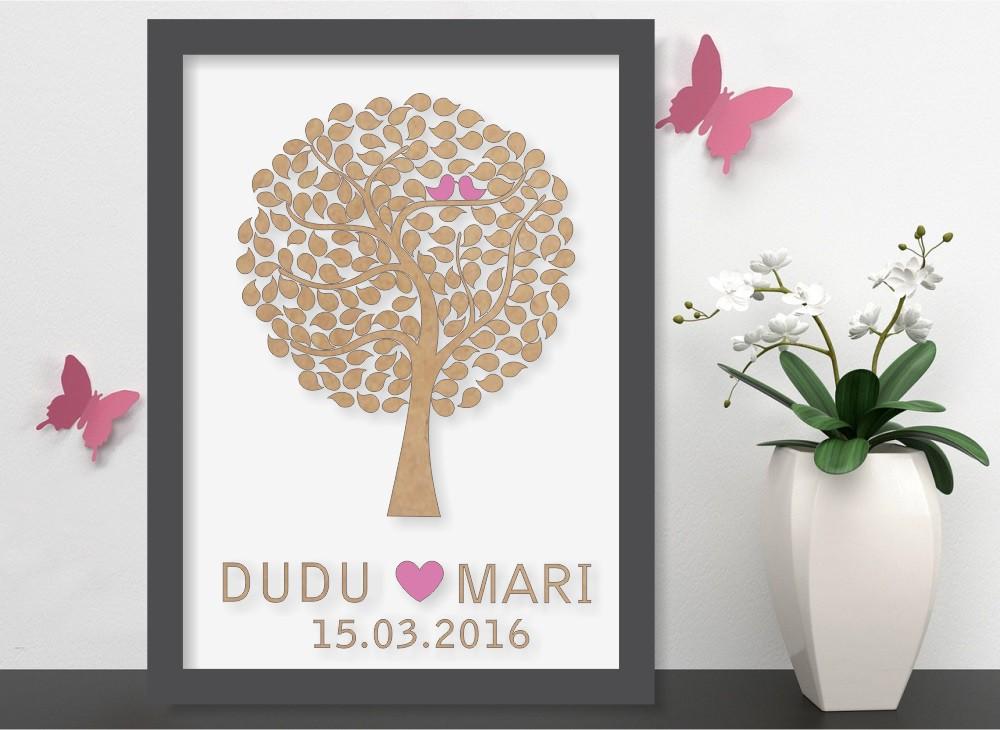 Quadro Árvore de Assinatura Premium com 200 Folhas - O Queridinho dos Casamentos