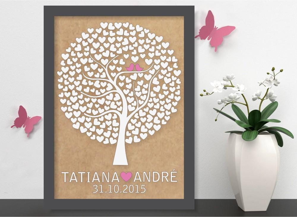 Quadro Árvore de Assinatura Premium com 250 Corações - O Queridinho dos Casamentos