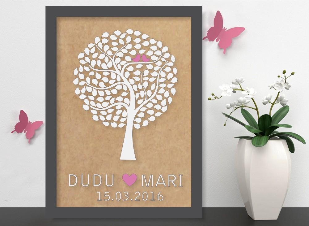 Quadro Árvore de Assinatura Premium com 250 Folhas - O Queridinho dos Casamentos