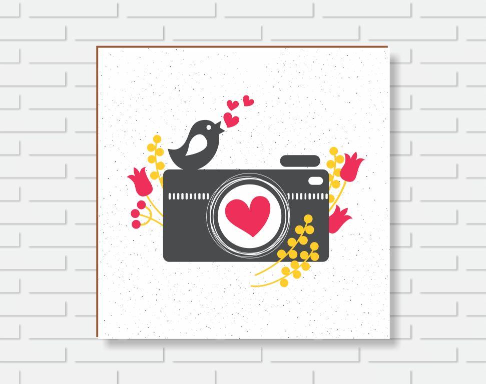 Quadro Decorativo - Câmera Foto e Pássaro - 20x20cm ou 30x30cm