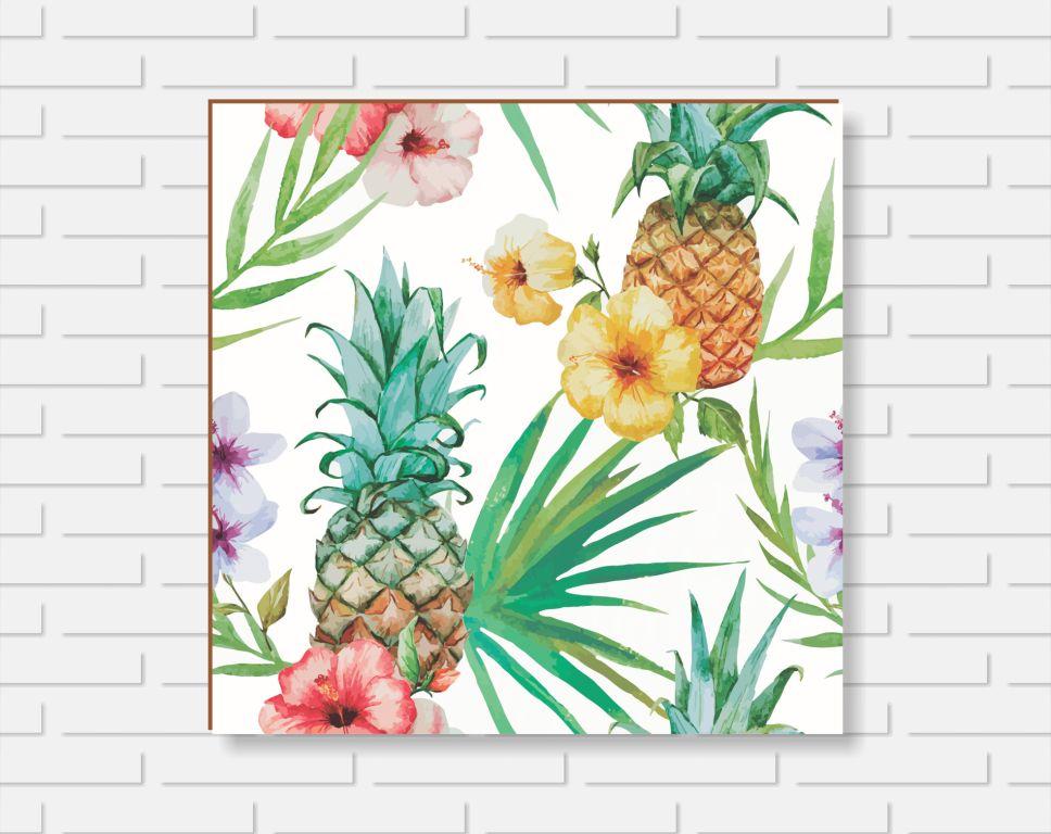 Quadro Decorativo - Floral Abacaxi - 20x20cm ou 30x30cm