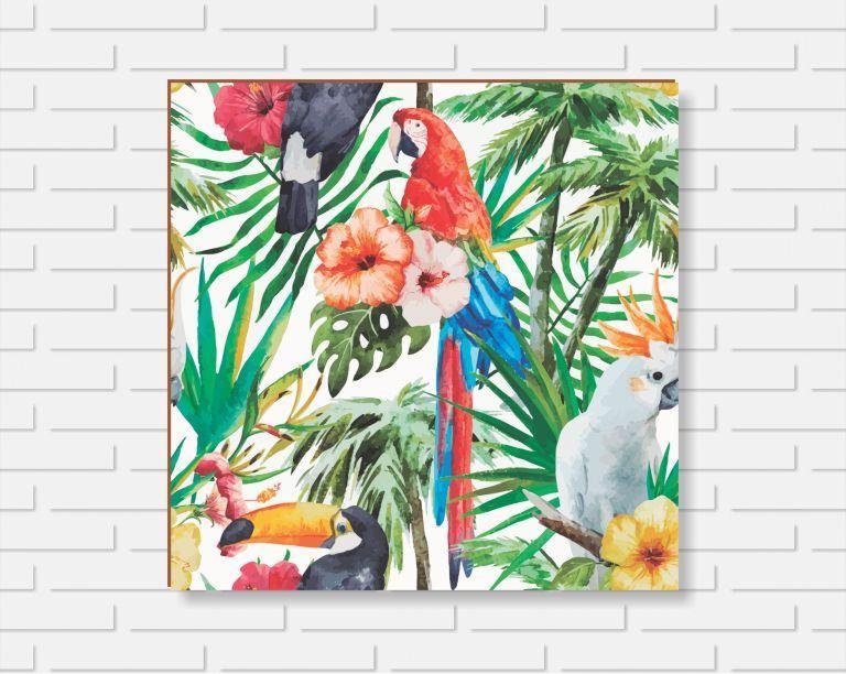 Quadro Decorativo - Floral Araras - 20x20cm ou 30x30cm