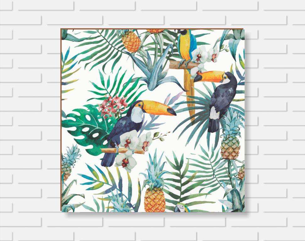 Quadro Decorativo - Floral Tucanos - 20x20cm ou 30x30cm