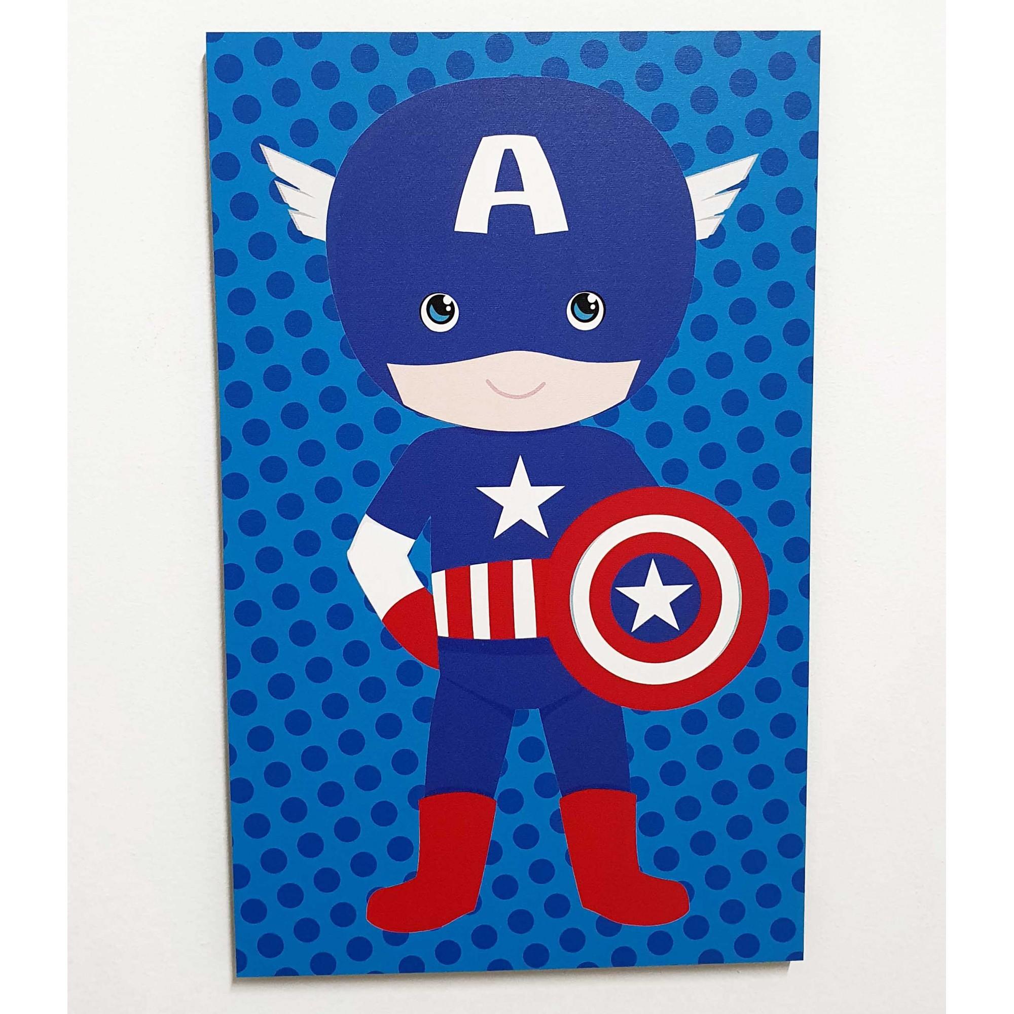 Quadro Decorativo Infantil Mini Vingadores - Capitão América 42x26cm ou 30x18cm