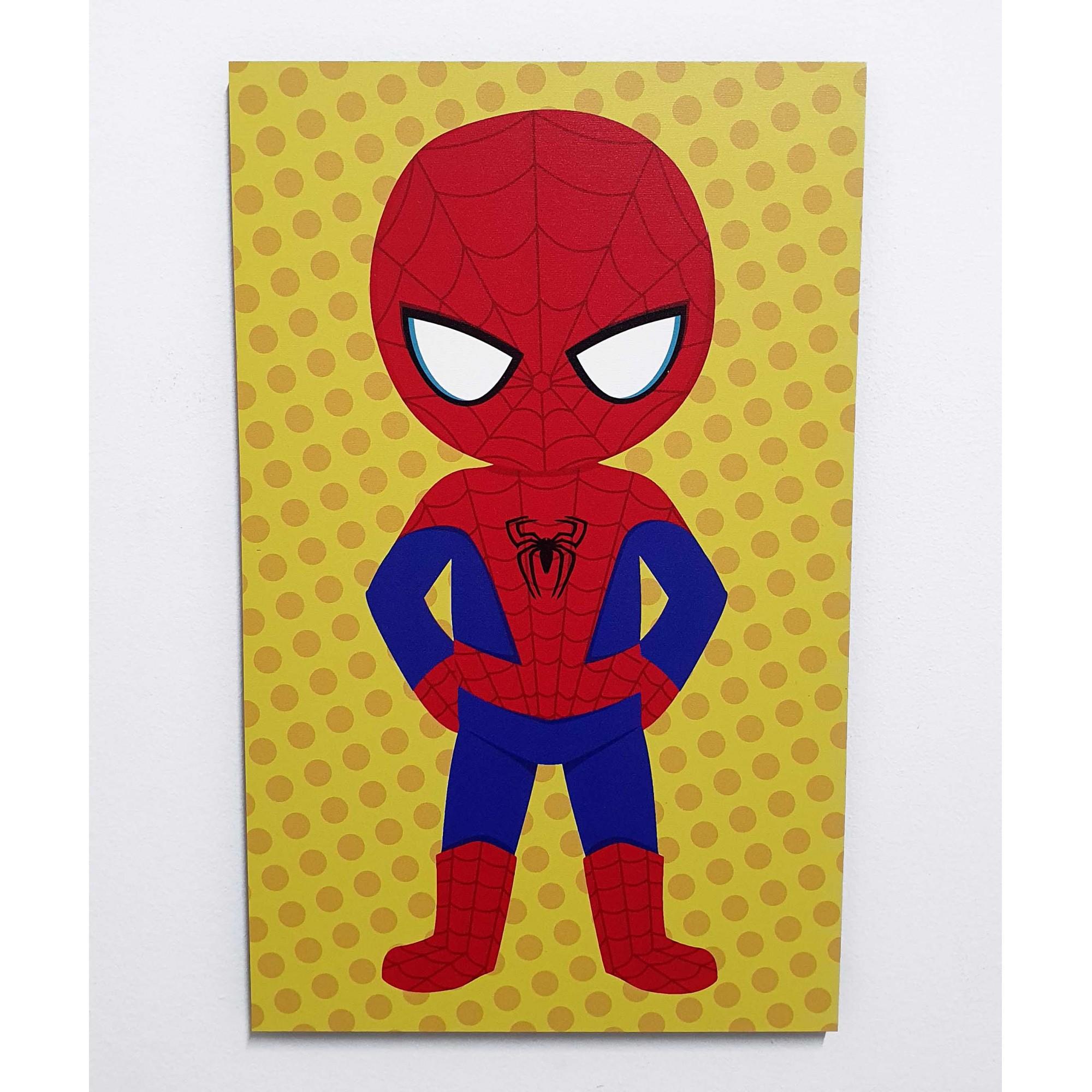 Quadro Decorativo Infantil Mini Vingadores - Homem Aranha (Spider Man) 42x26cm ou 30x18cm