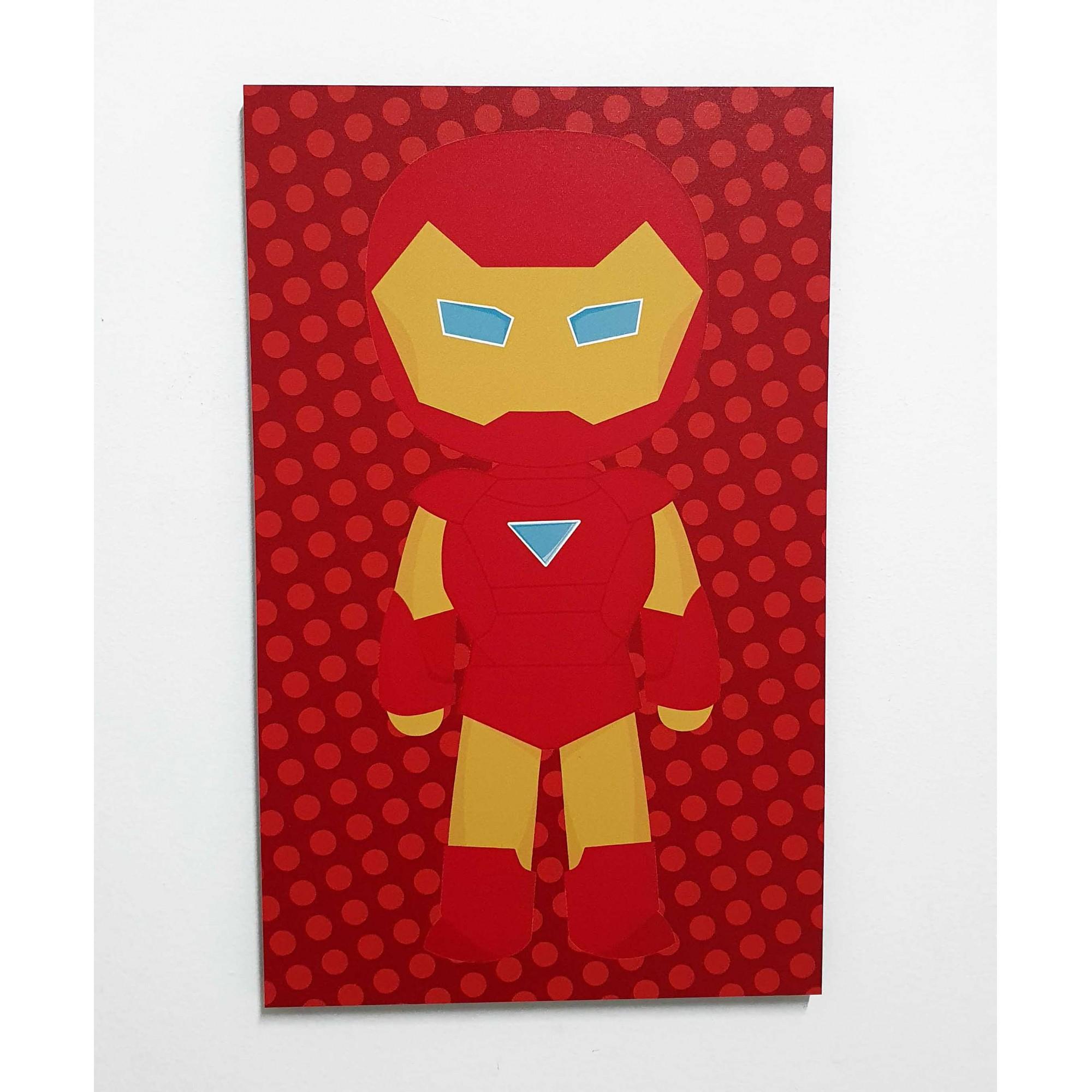 Quadro Decorativo Infantil Mini Vingadores - Homem de Ferro (Iron Man) 42x26cm ou 30x18cm