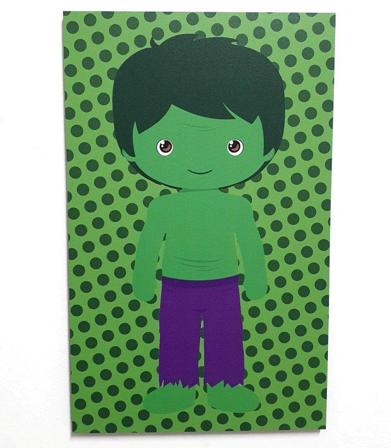Quadro Decorativo Infantil Mini Vingadores - Incrível Hulk 42x26cm ou 30x18cm