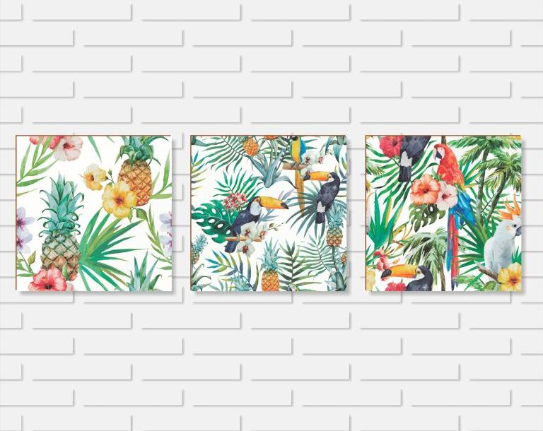 Quadro Decorativo - Kit Floral Tropical - 20x20 ou 30x30cm