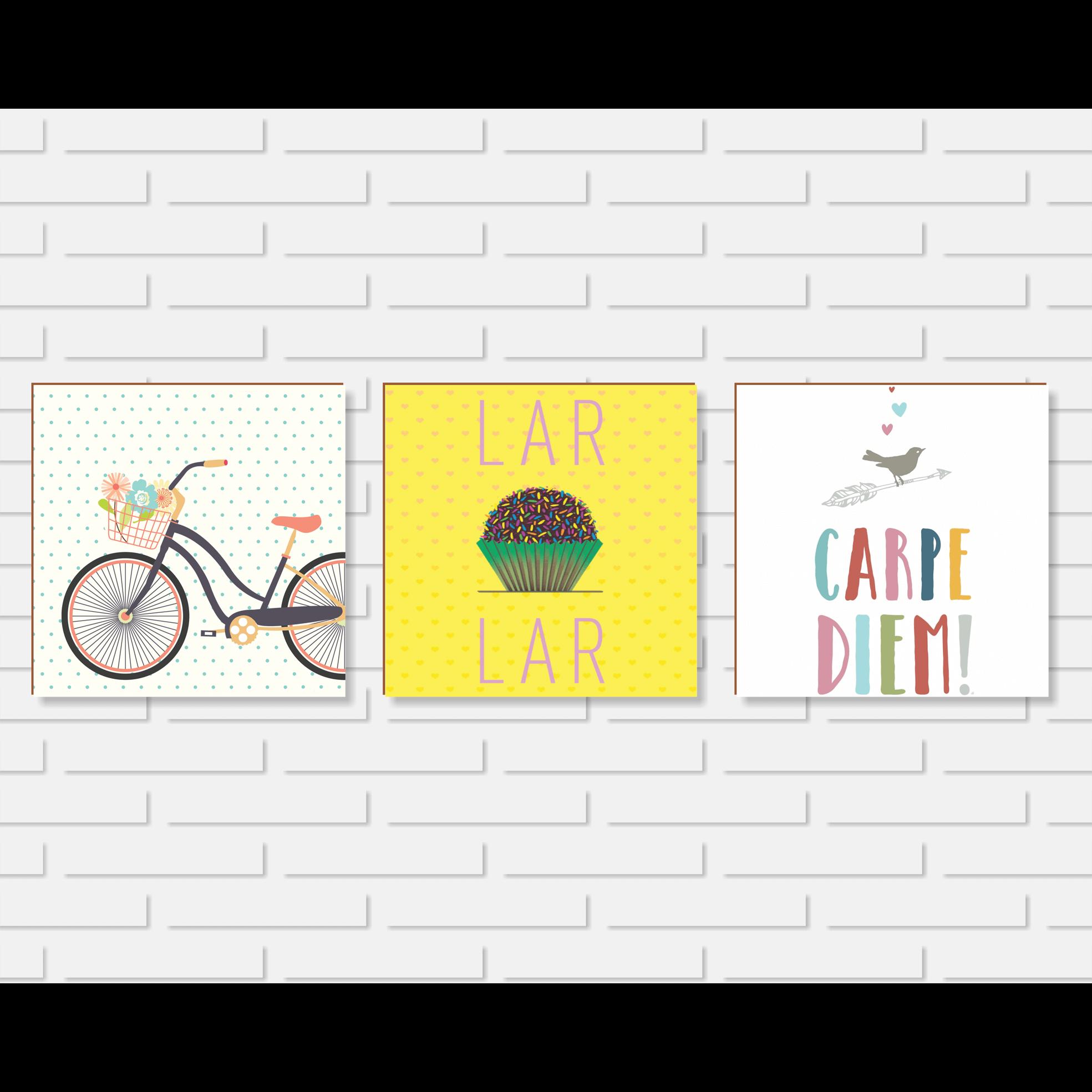 Quadro Decorativo - Kit Bicicleta e Lar Doce Lar e Carpe Diem - 20x20 ou 30x30cm