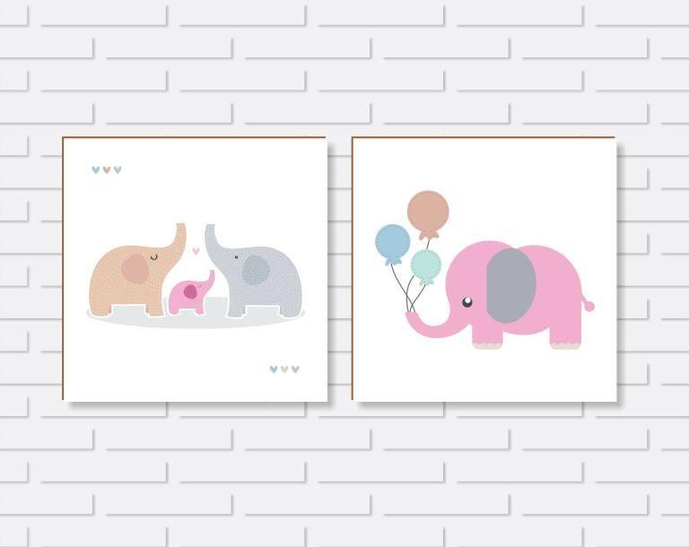 Quadro Decorativo - Kit Quadros Quarto de Menina Elefantinhos - 20x20 ou 30x30cm