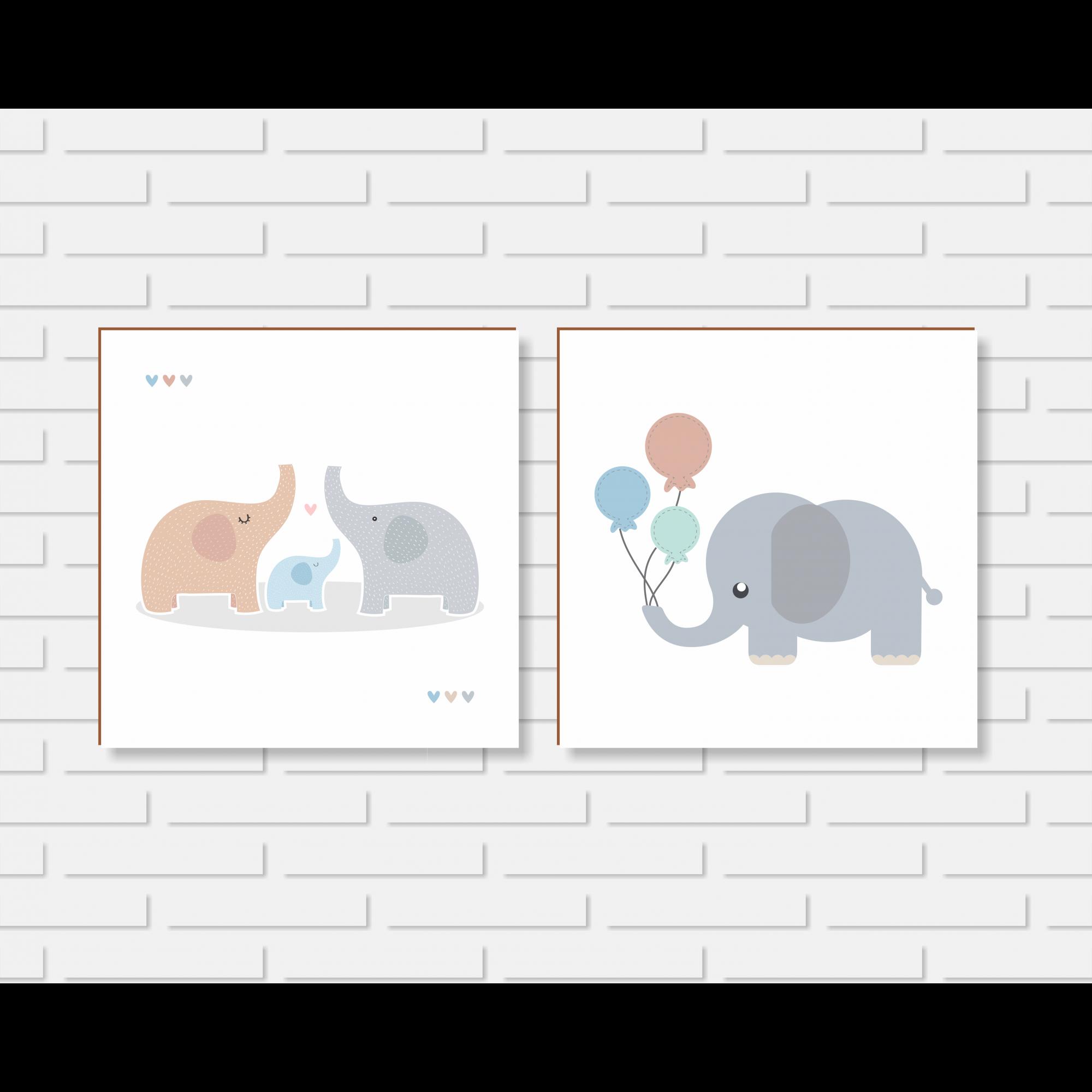 Quadro Decorativo - Kit Quadros Quarto de Menino Elefantinhos - 20x20 ou 30x30cm