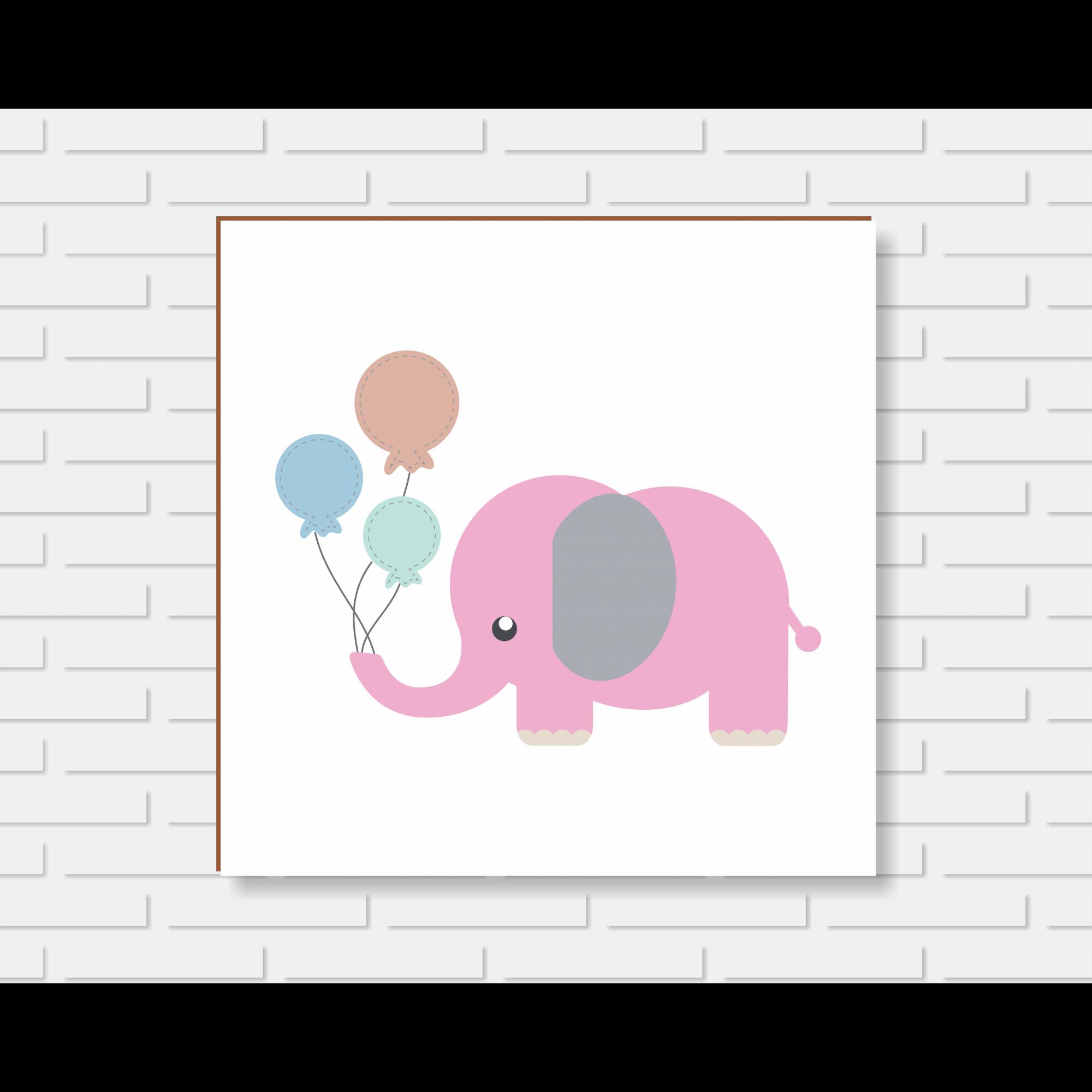 Quadro Decorativo - Quarto de Menina Elefantinho Rosa - 20x20 ou 30x30cm