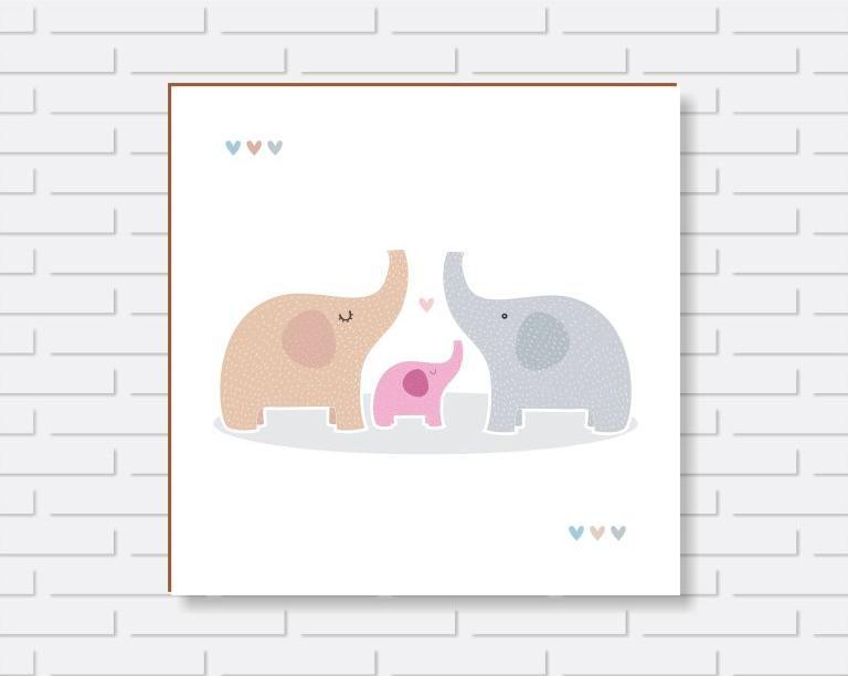 Quadro Decorativo - Quarto de Menino Elefantinho com os Pais - 20x20 ou 30x30cm