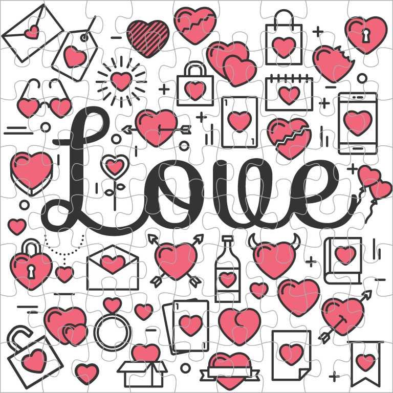 Quebra Cabeça Romântico - Love e Corações