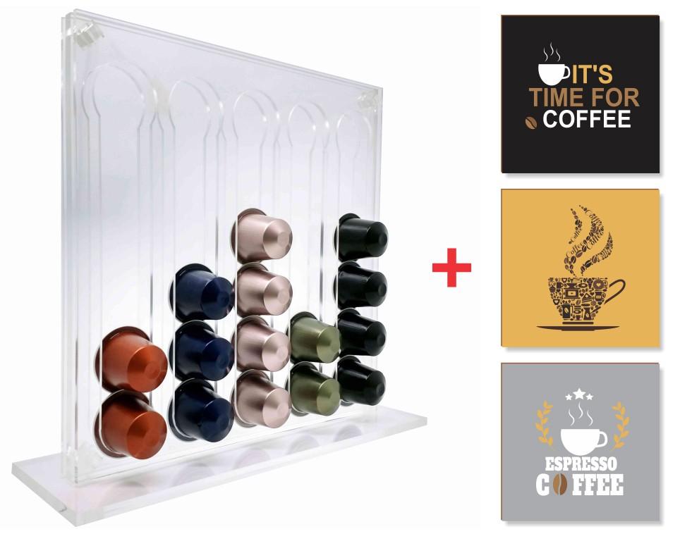 Suporte Porta Capsulas Nespresso em Acrílico Transparente Premium + Quadrinhos = Kit Bônus
