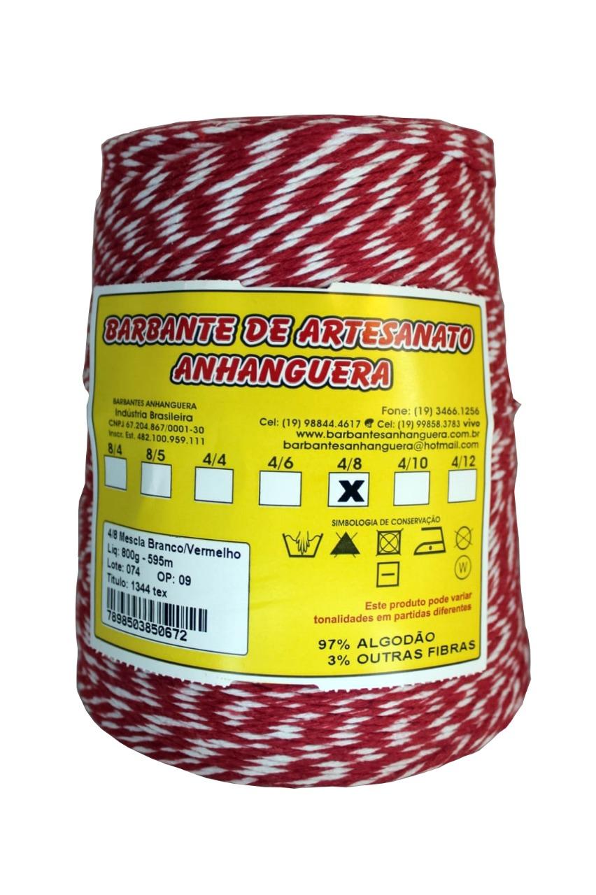 Barbante 4/8 800g 590m Mescla Branco e Vermelho - Anhanguera