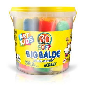 Big Balde Com 30 Massinhas De Modelar Soft Art Kids Acrilex