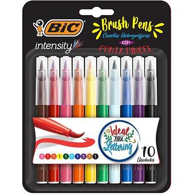 Caneta Pincel Brush Pen 10 Cores Intensity Bic