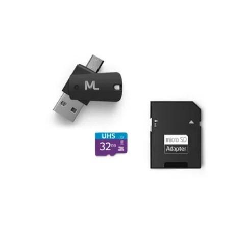 Cartão de Memória 32GB + Adaptador USB + Adaptador SD Ref MC151 Multilaser
