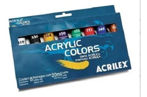 Estojo Tinta Acrílica Acrylic Colors Acrilex Com 8 Bisnagas
