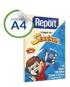 Papel Sulfite A4 com 100 Amarelo Senninha Report