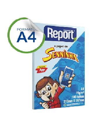 Papel Sulfite A4 com 100 Azul Senninha Report