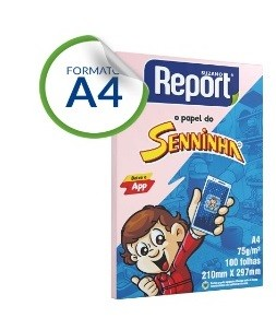 Papel Sulfite A4 com 100 Rosa Senninha Report
