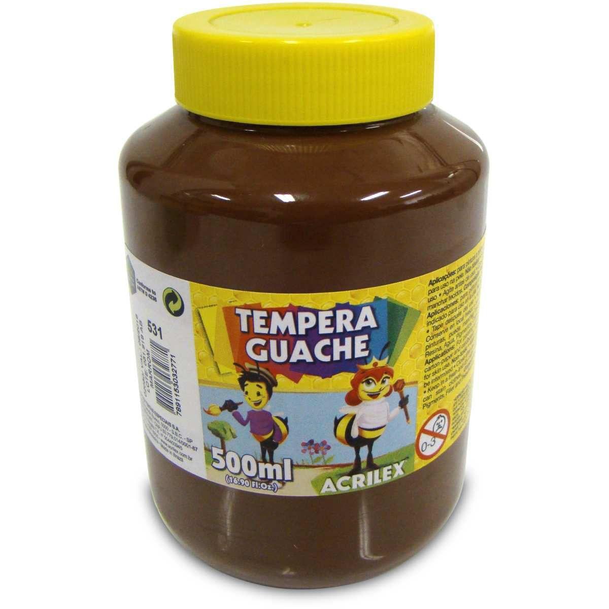 Tinta Guache 500ml Acrilex - Marrom