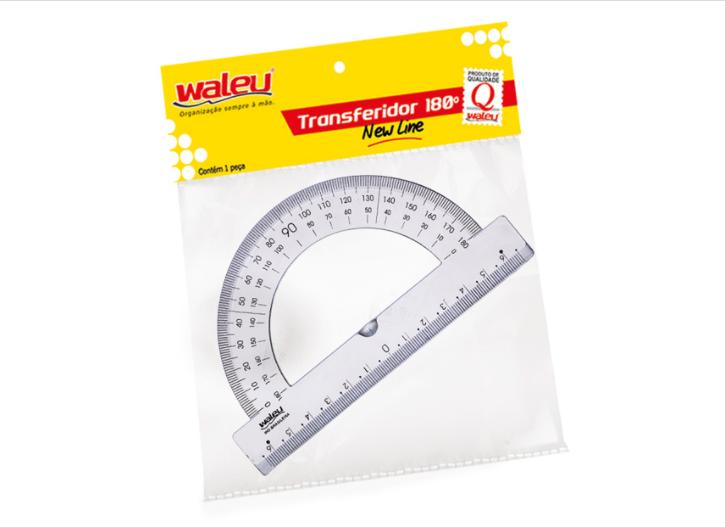 Transferidor 180° Waleu - Cristal