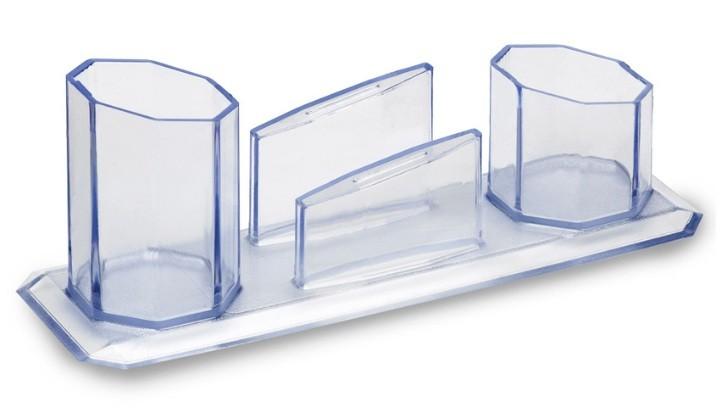 Trio Porta Caneta/Clips/Lembrete Cristal Waleu