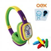 FONE OEX CARTOON ROXO/VERDE HP302