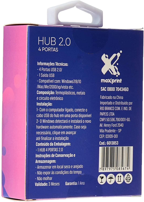 HUB 4 PORTAS USB 2.0 - MAXPRINT