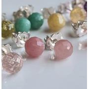 Brincos bolinhas quartzo goiaba