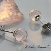 Brincos bolinhas quartzo rosa