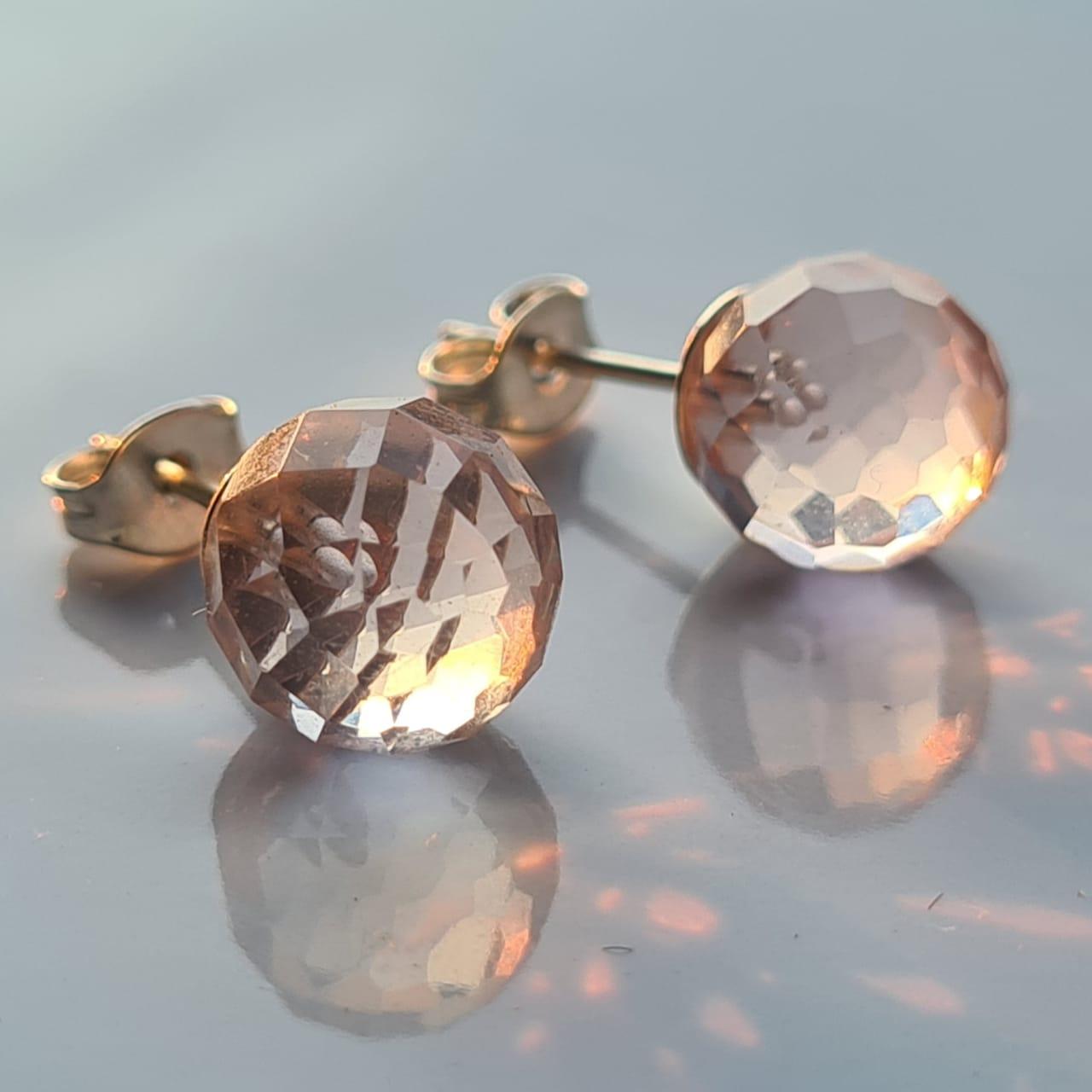 Brincos bolinhas quartzo rosa 9mm