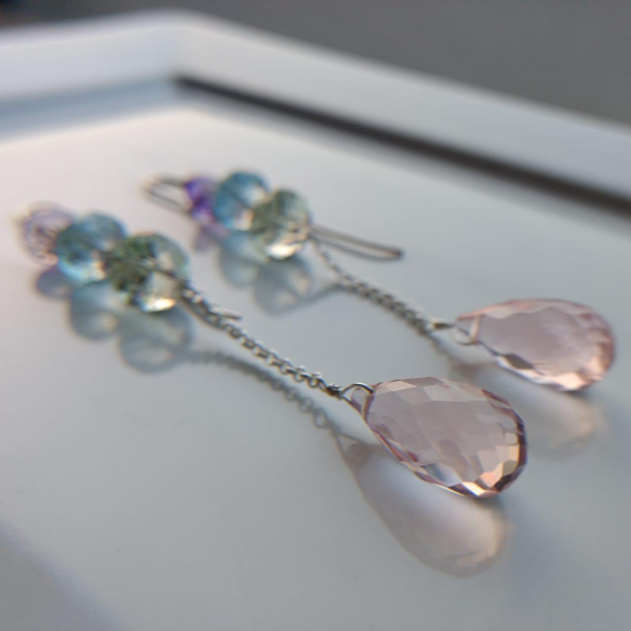 brincos mix quartzo rosa