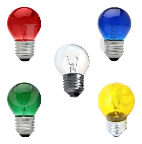 10 Lâmpada Bolinha Colorida 15w 127/220v Incandescente E-27