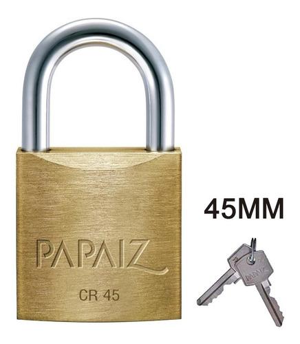 Cadeado Latão Papaiz Cr 45mm Com 2 Chaves