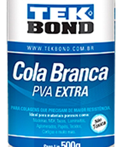 Cola Branca Pva Extra 500g Tek Bond Escolar Ou Artesanato