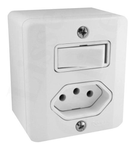 Interruptor Simples C/ Tomada Sistema X Radial Caixa Externa
