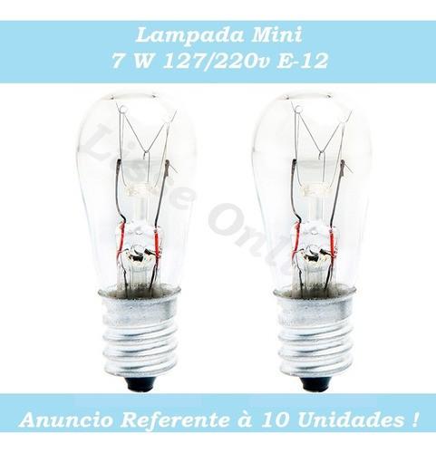 Kit 10 Lâmpada Mini P/ Abajur/lustre 127/220v Rosca E-12