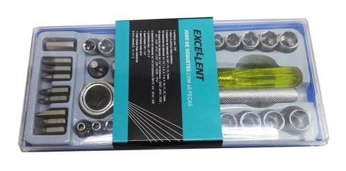 Kit Chave Catraca Reversível Soquete 40 Pçs + Chave De Teste