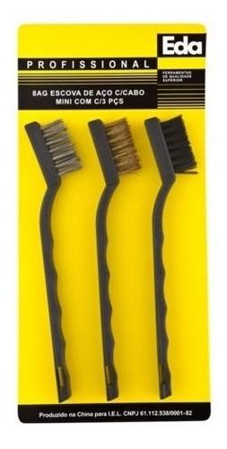 Kit Com 3 Mini Escovas De Aço Eda P/ Limpeza