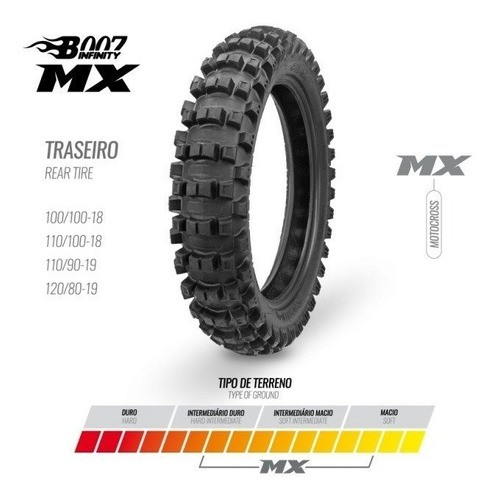 Pneu Traseiro 100/100-18 Mx Borilli Racing