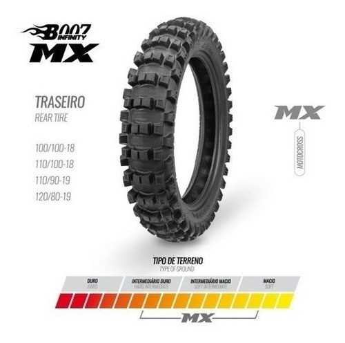 Pneu Traseiro 110/100-18 Mx Borilli Racing