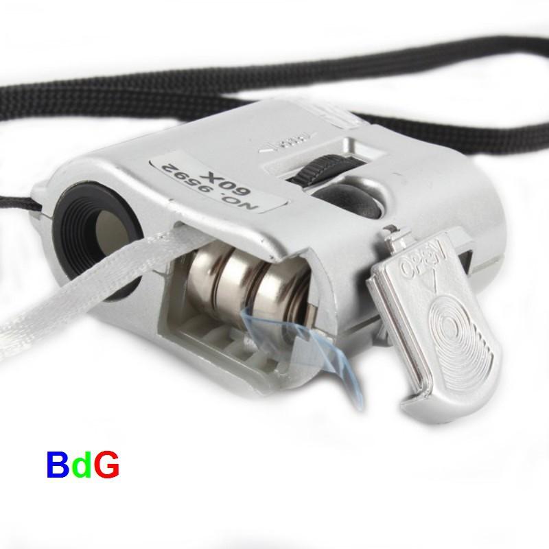 """Conta-fio 60x Escala """"0,1mm"""" + luz bca e UV, lanterna, SHOW"""