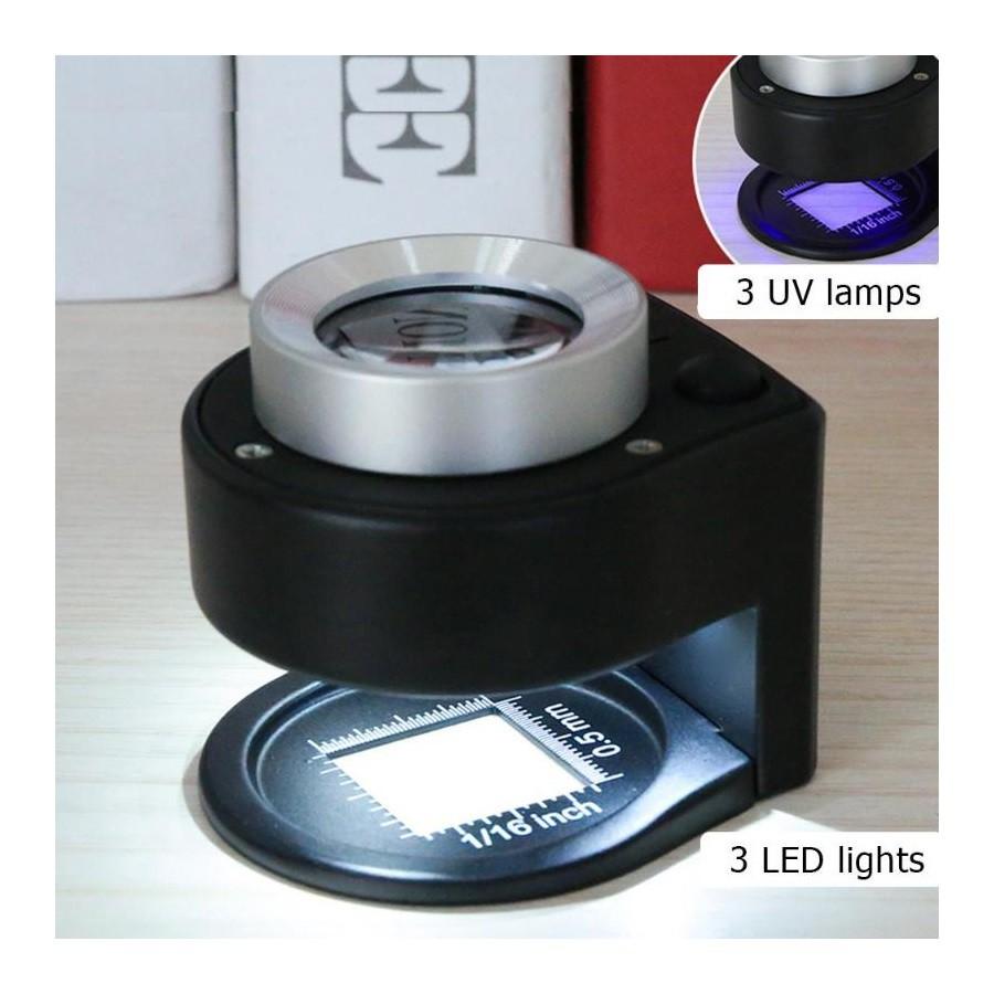 Conta-fios 20x com leds branco e UV e escala com resolução 0,5 mm